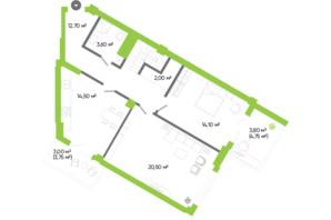 ЖК Оселя парк: планировка 3-комнатной квартиры 136.8 м²
