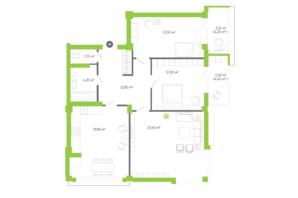 ЖК Оселя парк: планировка 3-комнатной квартиры 93.7 м²