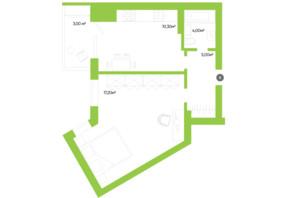 ЖК Оселя парк: планування 1-кімнатної квартири 39.5 м²