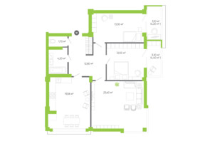 ЖК Оселя парк: планировка 3-комнатной квартиры 93.58 м²