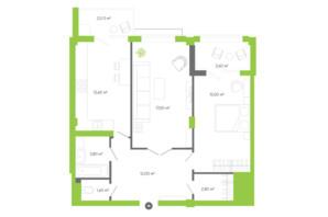 ЖК Оселя парк: планировка 2-комнатной квартиры 71.8 м²