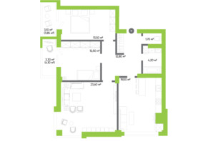 ЖК Оселя парк: планировка 2-комнатной квартиры 93.7 м²