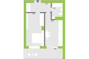 ЖК Оселя парк: планування 1-кімнатної квартири 45.9 м²