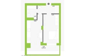 ЖК Оселя парк: планування 1-кімнатної квартири 40.3 м²