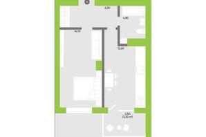 ЖК Оселя парк: планування 1-кімнатної квартири 40.4 м²
