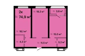 ЖК Оскар: планировка 2-комнатной квартиры 74.9 м²