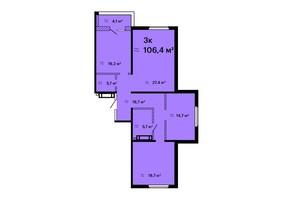 ЖК Оскар: планировка 3-комнатной квартиры 106.4 м²