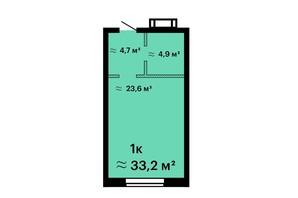 ЖК Оскар: планировка 1-комнатной квартиры 33.2 м²