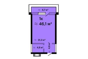 ЖК Оскар: планировка 1-комнатной квартиры 46.1 м²