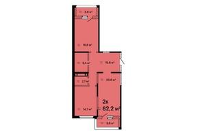 ЖК Оскар: планировка 2-комнатной квартиры 82.2 м²