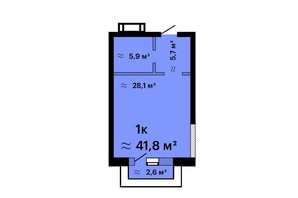ЖК Оскар: планировка 1-комнатной квартиры 41.8 м²