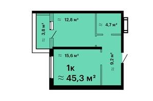 ЖК Оскар: планировка 1-комнатной квартиры 45.3 м²