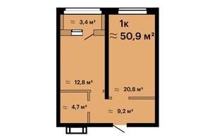 ЖК Оскар: планировка 1-комнатной квартиры 50.9 м²