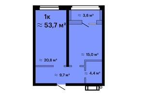 ЖК Оскар: планировка 1-комнатной квартиры 53.7 м²