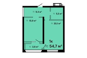 ЖК Оскар: планировка 1-комнатной квартиры 53.9 м²