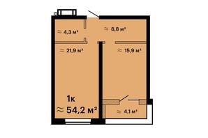 ЖК Оскар: планировка 1-комнатной квартиры 54.2 м²