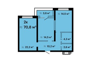 ЖК Оскар: планировка 2-комнатной квартиры 70.8 м²