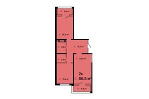 ЖК Оскар: планировка 2-комнатной квартиры 86.5 м²