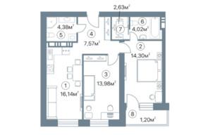 ЖК Оскар: планировка 2-комнатной квартиры 64.2 м²