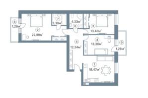ЖК Оскар: планировка 3-комнатной квартиры 90.83 м²