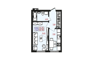 ЖК Острова: планировка 1-комнатной квартиры 30.9 м²