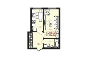 ЖК Острова: планировка 1-комнатной квартиры 32.2 м²