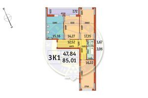 ЖК Отрада: планировка 3-комнатной квартиры 85.01 м²