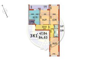 ЖК Отрада: планировка 3-комнатной квартиры 84.63 м²