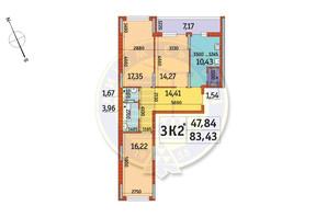 ЖК Отрада: планировка 3-комнатной квартиры 83.43 м²