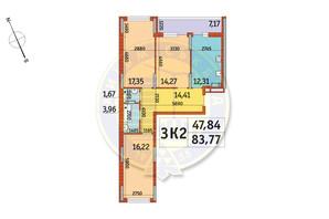 ЖК Отрада: планировка 3-комнатной квартиры 83.77 м²