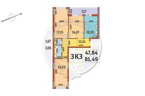 ЖК Отрада: планировка 3-комнатной квартиры 81.49 м²