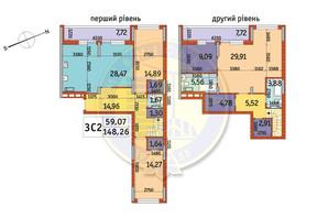 ЖК Отрада: планировка 3-комнатной квартиры 148.26 м²