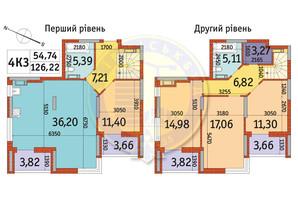 ЖК Отрада: планировка 4-комнатной квартиры 126.22 м²