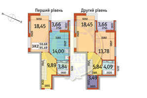 ЖК Отрада: планировка 3-комнатной квартиры 95.49 м²