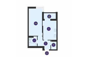 ЖК Отрада: планировка 1-комнатной квартиры 47.11 м²