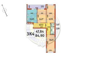 ЖК Отрада: планування 3-кімнатної квартири 84.9 м²