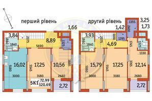 ЖК Отрада: планування 5-кімнатної квартири 120.69 м²