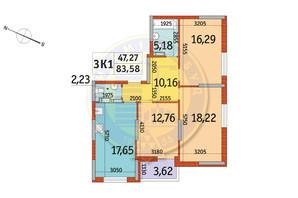 ЖК Отрада: планування 3-кімнатної квартири 83.58 м²