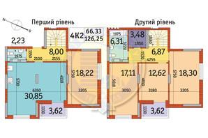 ЖК Отрада: планування 4-кімнатної квартири 126.25 м²