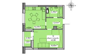 ЖК Otrada Sky: планування 1-кімнатної квартири 42.86 м²
