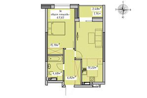 ЖК Otrada Sky: планування 1-кімнатної квартири 47.65 м²