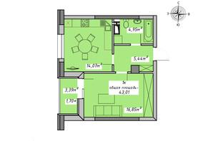 ЖК Otrada Sky: планування 1-кімнатної квартири 43.01 м²
