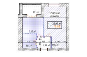 ЖК Озерки: планировка 1-комнатной квартиры 32.02 м²
