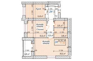 ЖК Озерки: планировка 2-комнатной квартиры 54.95 м²