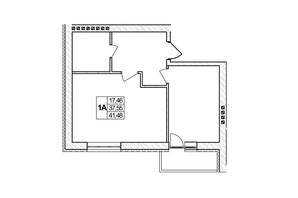 ЖК Озерний: планировка 1-комнатной квартиры 41.48 м²