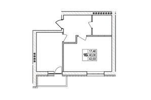 ЖК Озерний: планировка 1-комнатной квартиры 43.93 м²