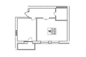 ЖК Озерний: планировка 1-комнатной квартиры 51.46 м²