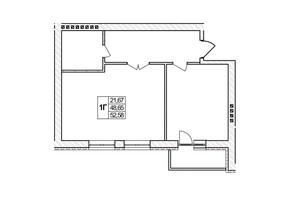 ЖК Озерний: планировка 1-комнатной квартиры 52.58 м²