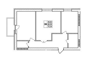 ЖК Озерний: планировка 2-комнатной квартиры 70.34 м²