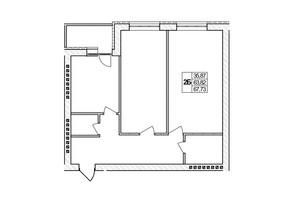 ЖК Озерний: планировка 2-комнатной квартиры 67.73 м²